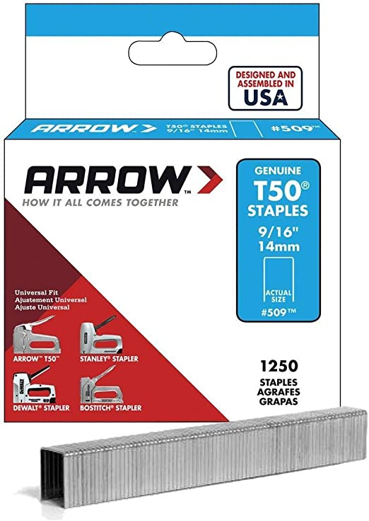 Arrow Fastener 50924 9//16 T50 Staples