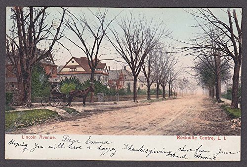 Horse Buggy Lincoln Ave Rockville Centre Long Island NY undivided postcard 1900s ()