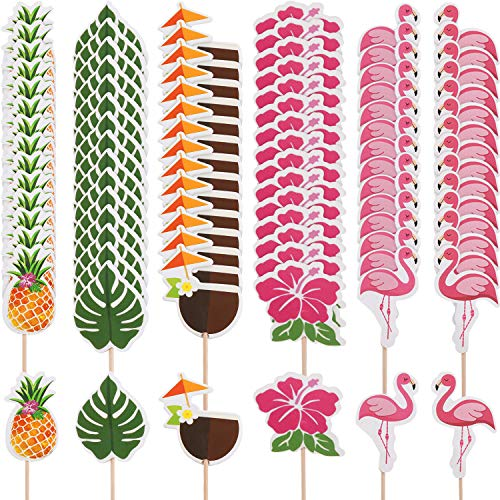 Yaomiao 96 Pieces Tropical Hawaiian Cupcake Toppers Luau Summer Flamingo Pineapple Hibiscus Flowers Tropical Palm Leaves Cupcake Toppers Picks Party Supplies