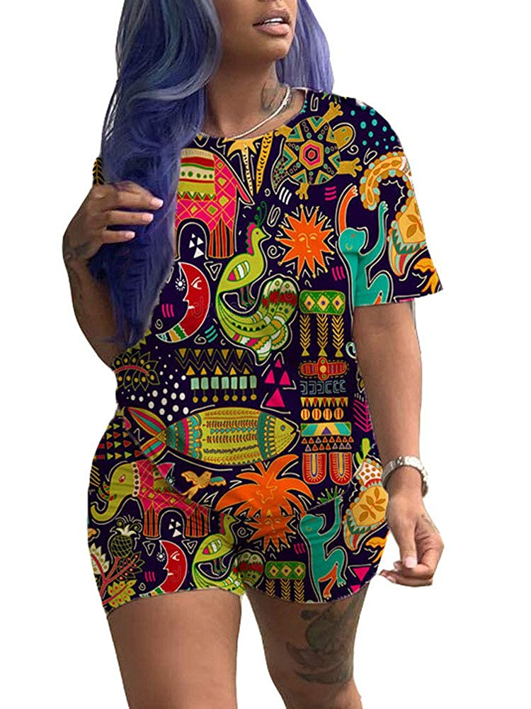 9426287614af4 Chatinction Womens Casual 2 Piece Outfits African Print Short Sleeve ...
