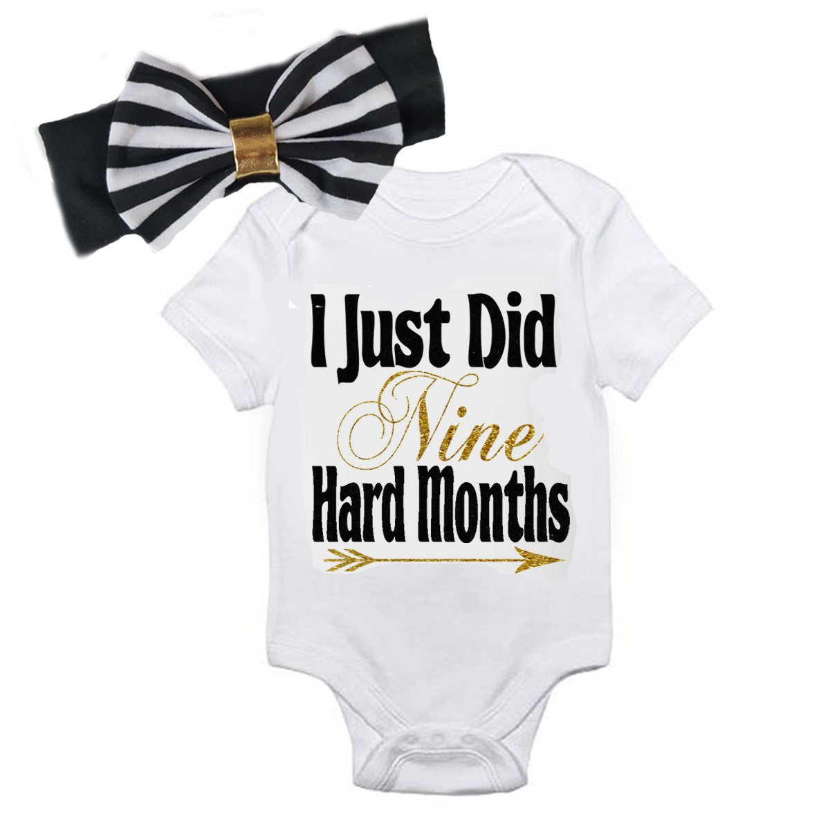 5d1b534275e6c Amazon.com: G&G - Funny Baby Girls 2pc Coming Home Outfits for ...