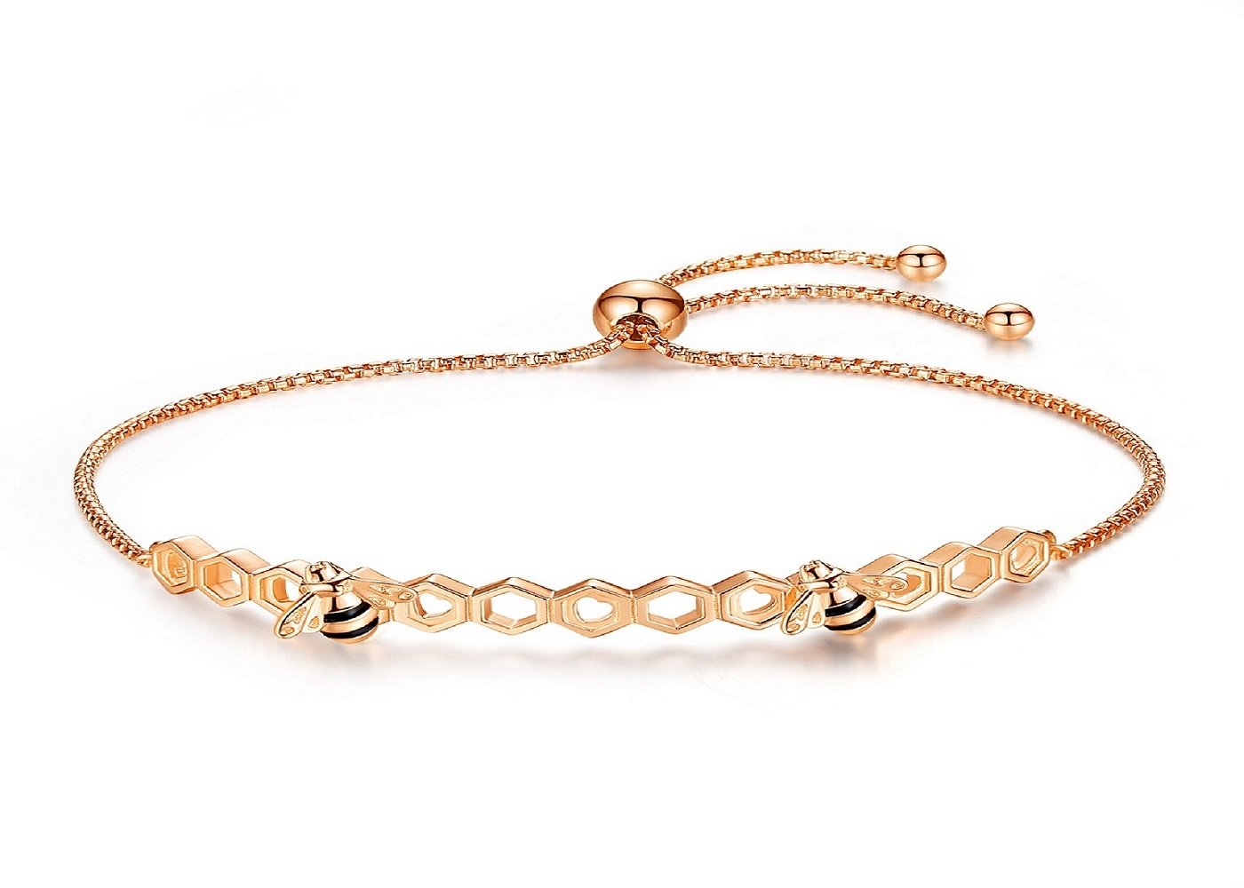 Presentski Honey bee Honeycomb Bracelet 925 Sterling Silver, Rose Gold Plated Adjustable Chain, Gift for Women