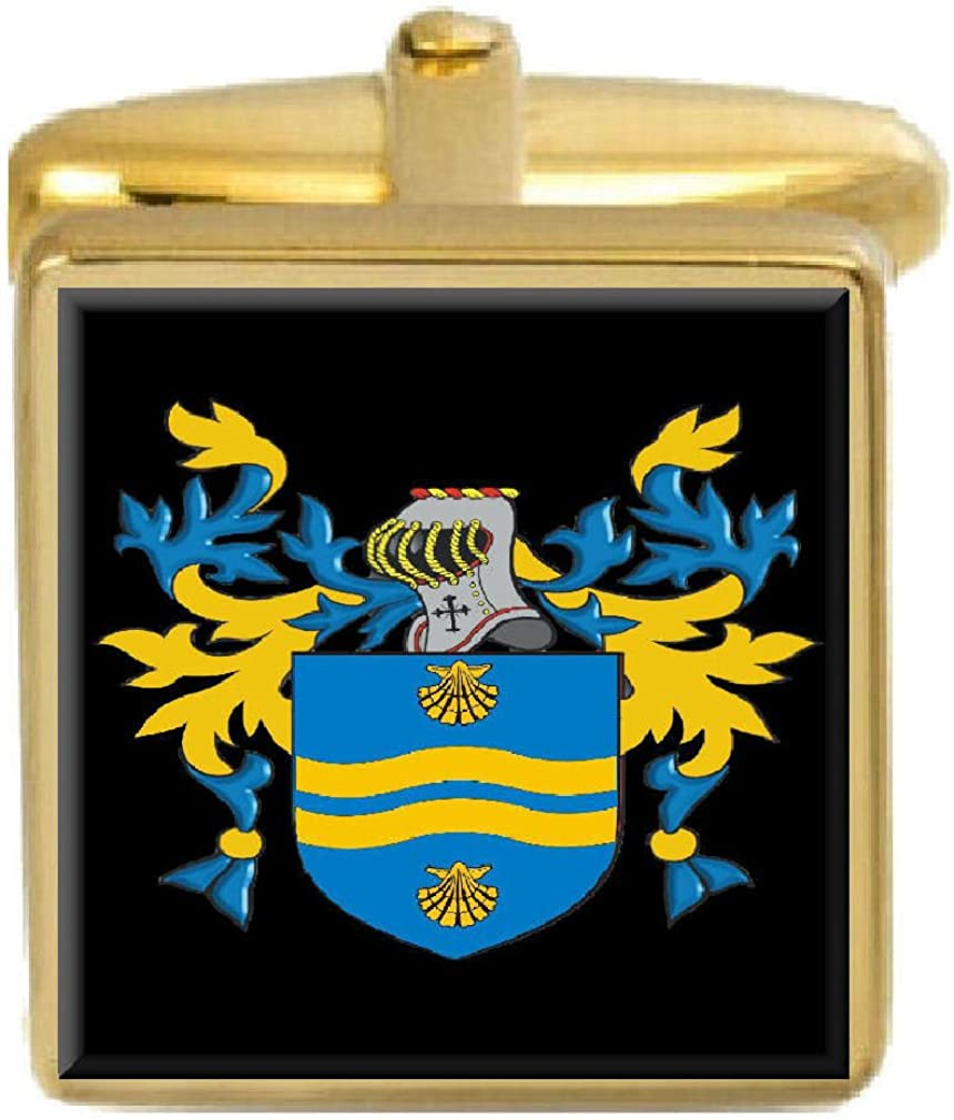 Select Gifts Pountney England Family Crest Surname Coat Of Arms Gold Cufflinks Engraved Box