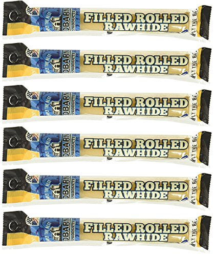 Filled Rolled Rawhide Dog Treat - (6 Pack) Redbarn Filled Rolled Rawhide Chicken, 6 Inches Each