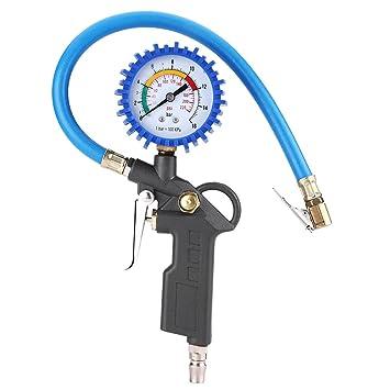 Qiilu Manómetro Medidor de presión de neumáticos de aire Probador 0-200PSI para Motocicletas Carros Coche: Amazon.es: Coche y moto