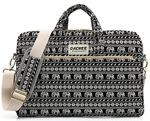 DACHEE Black Elephant Pattern 15 inch Canvas Waterproof Laptop Shoulder Messenger Bag for 14 Inch to15.6 inch Laptop and MacBook Pro 15 Laptop Case