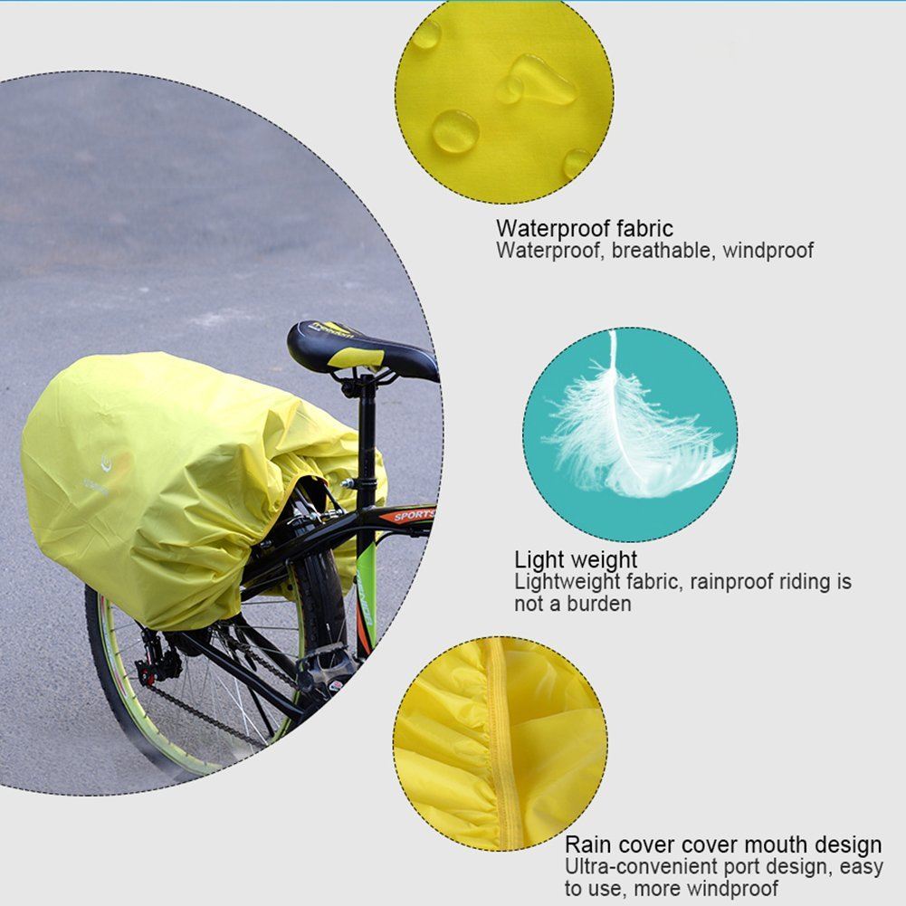 100/% Waterproof Rainproof Cover for Commuter Bags,Panniers Trunk Bag Backpack Ultralight and foldable Bicycle Rain Cover Biback Bicycle Rear Seat Carrier Bag Cover Pack Pannier and Luggage Bag