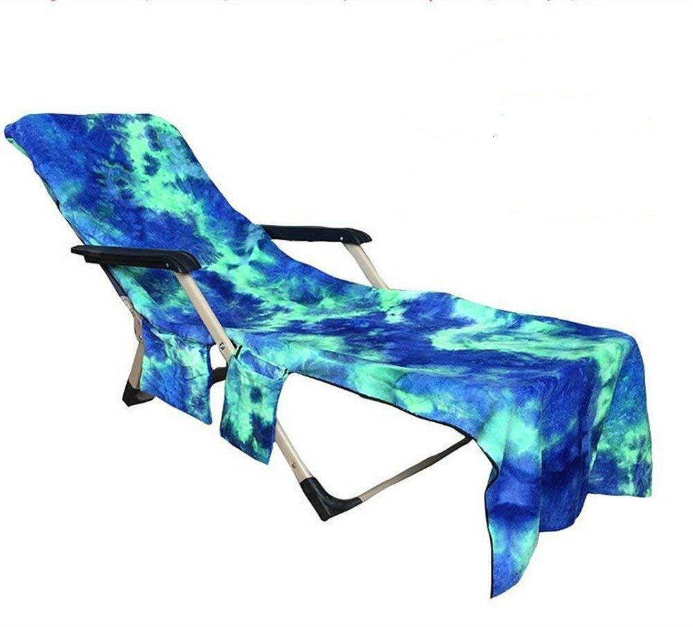 HomeYoo Beach Chair Cover, Pool Side Chaise Cover, Pool Lounge Chair Towel Beach Towel, Chaise Lounge Towel Cover for Pool, Sun Lounger, Hotel, Vacation with Storage Pockets (Blue)