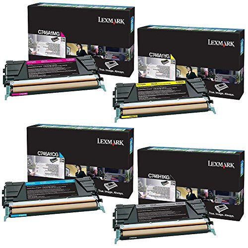 Lexmark C746H1KG High Yield Black with C746A1CG, C746A1MG, C746A1YG Standard Yield Color Toner Cartridge Set - Lexmark C746dn