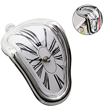 24x7 eMall Plastic Melting Time Flow Desk Clock (Silver)