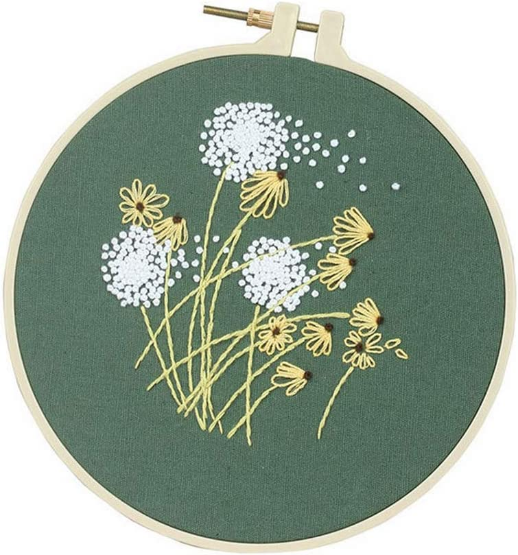 Handmade Embroidery Kits Flower Needlework for Beginner Dandelion Cross Stitch Set with Embroidery Hoop Swing Gift Home Decor,A,Bamboo Hoop Kits