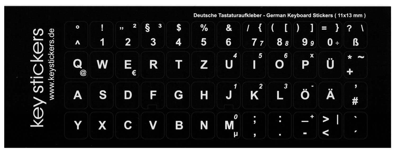 Teclado Alemán Pegatinas para PC o portátil (11 x 13 mm), color negro, mate, QWERTZ: Amazon.es: Electrónica