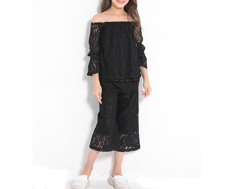 Zcaosma Teenage Girls Lace Sets Off The Shoulder Shirts Big Leg Pants Two-Piece,Black,8 by Zcaosma (Image #2)