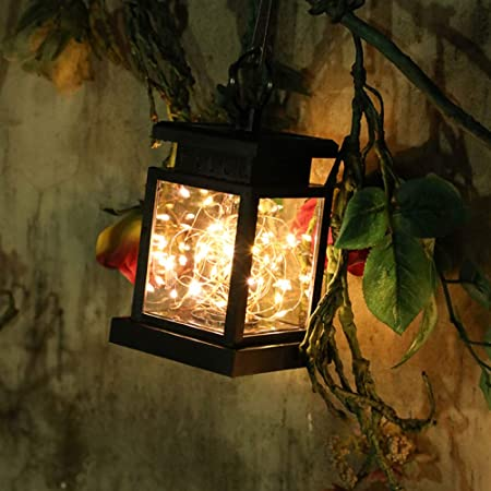 HAENG Festive Lights - Jardín Decorativas Lámparas Solares, Farol Solar Exterior, Linterna Solar LED, Impermeable IP44 Automáticamente Encendido con Velas Blanco Cálido Parpadeo,Star: Amazon.es: Hogar
