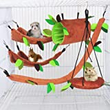 ISMARTEN 5pcs Hamster Hammock Small Animals Hanging Warm Bed House Cage Nest Accessories Forest Pattern Cage Toy Leaf…