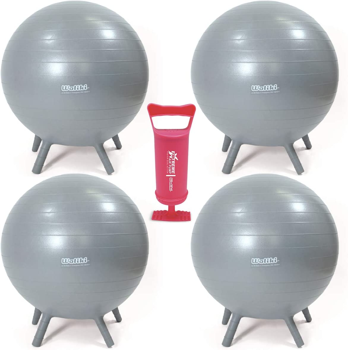 """WALIKI Adult Size Chair Ball with Feet 4 Pack   Alternative Classroom Seating   30""""/75CM Gray"""