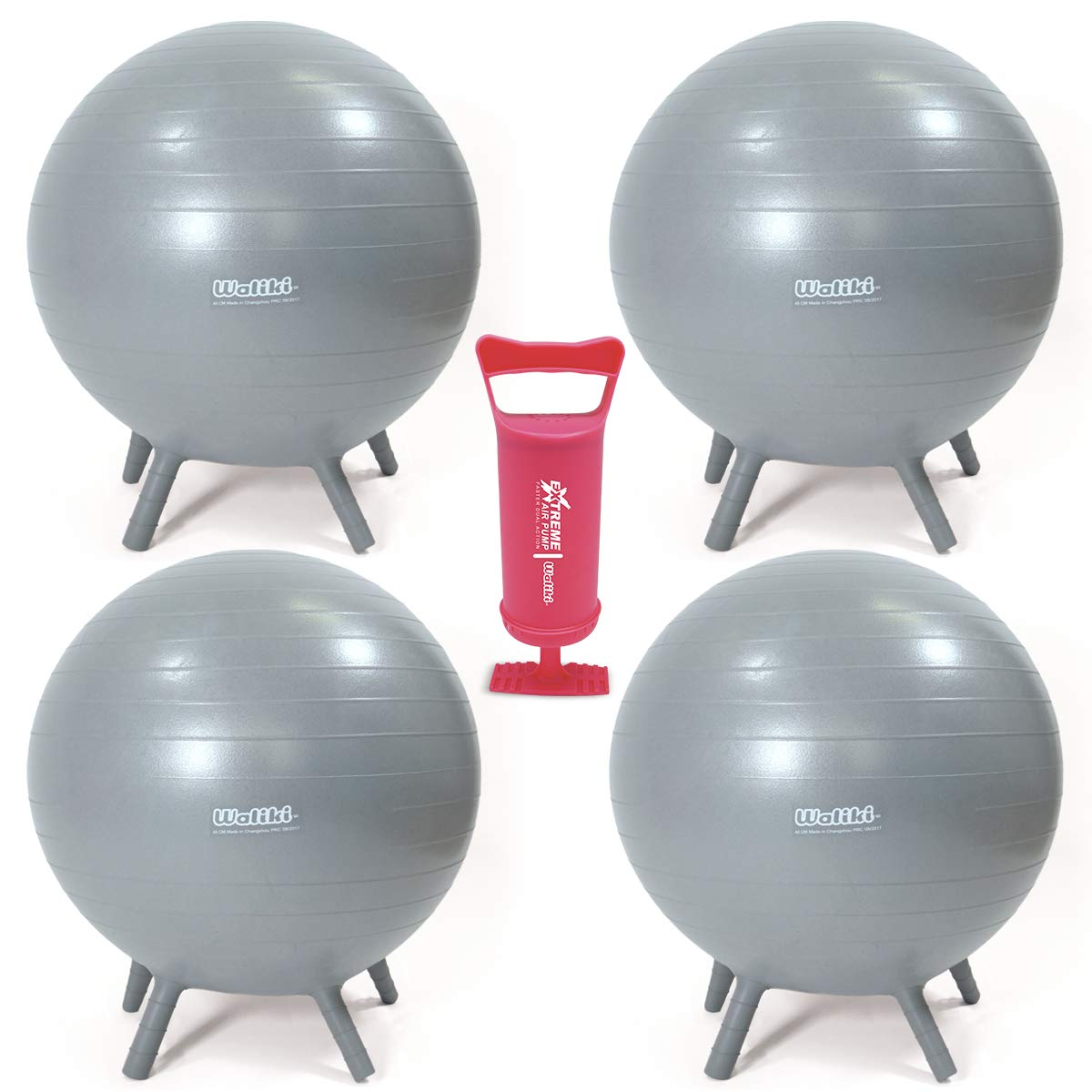 WALIKI Adult Size Chair Ball with Feet 4 Pack | Alternative Classroom Seating | 30''/75CM Gray by WALIKI