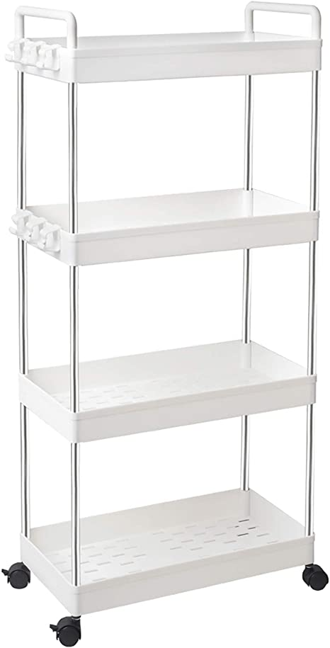 Amazon Com Solejazz Rolling Storage Cart 4 Tier Mobile Shelving Unit Bathroom Carts With Handle For Kitchen Bathroom Laundry Room Kitchen Dining