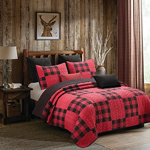 Bedspread Ranch Style (Virah Bella 3 Piece Primitive Plaid Patchwork Rustic Quilt and Sham Set (Red/Black, Queen/Full))