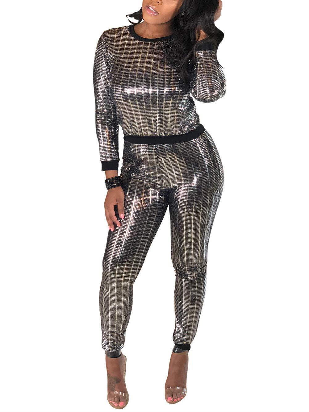 Women 2 Piece Jumpsuit Clubwear Sequins Crop Top Pants Set Sweatsuit Tracksuit Silver Black L by Kafiloe