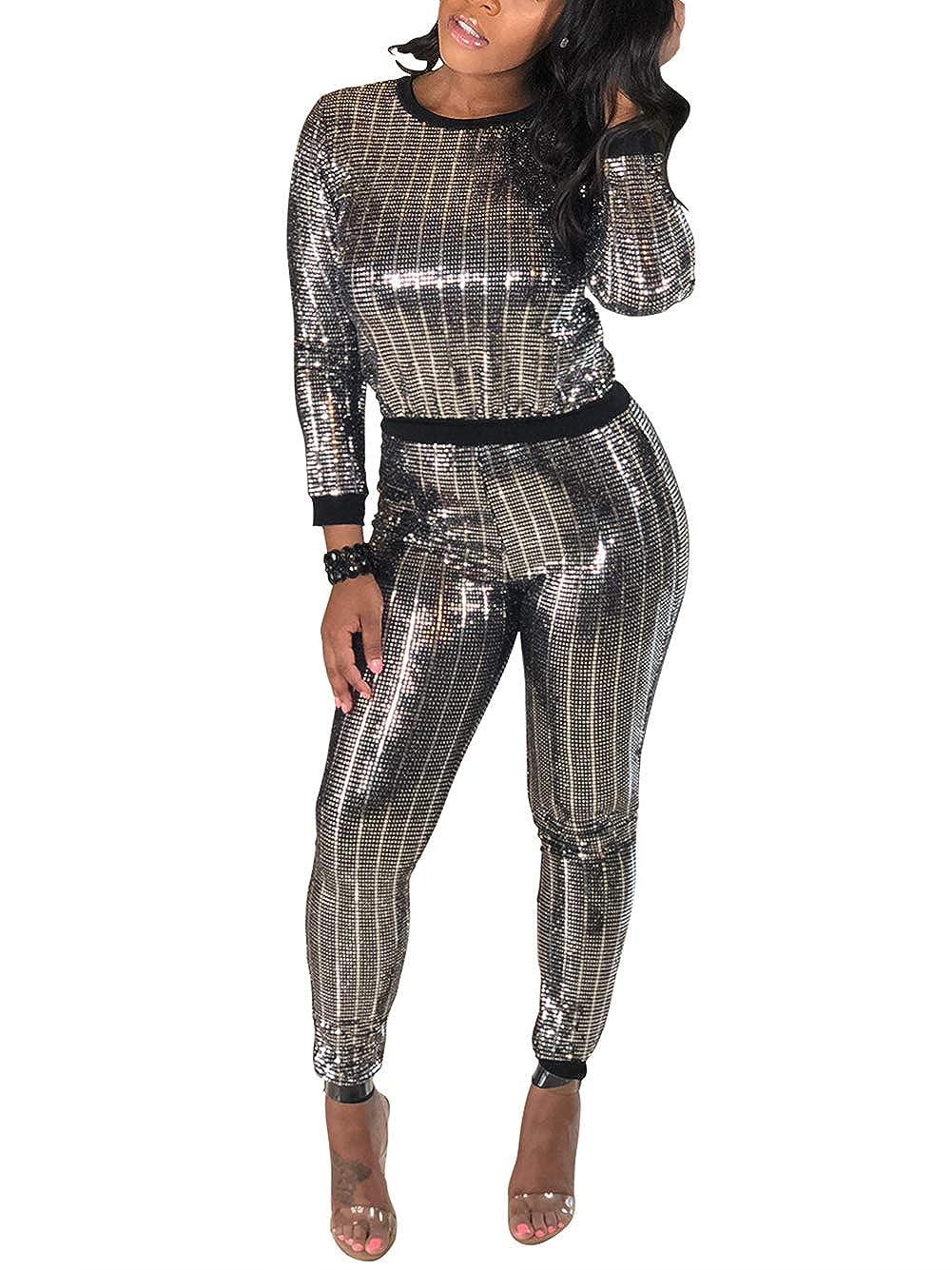 3 Silver Black Kafiloe Women 2 Piece Outfits Clubwear Bodycon Sequin Jumpsuit Set Crop Top Pants Suit