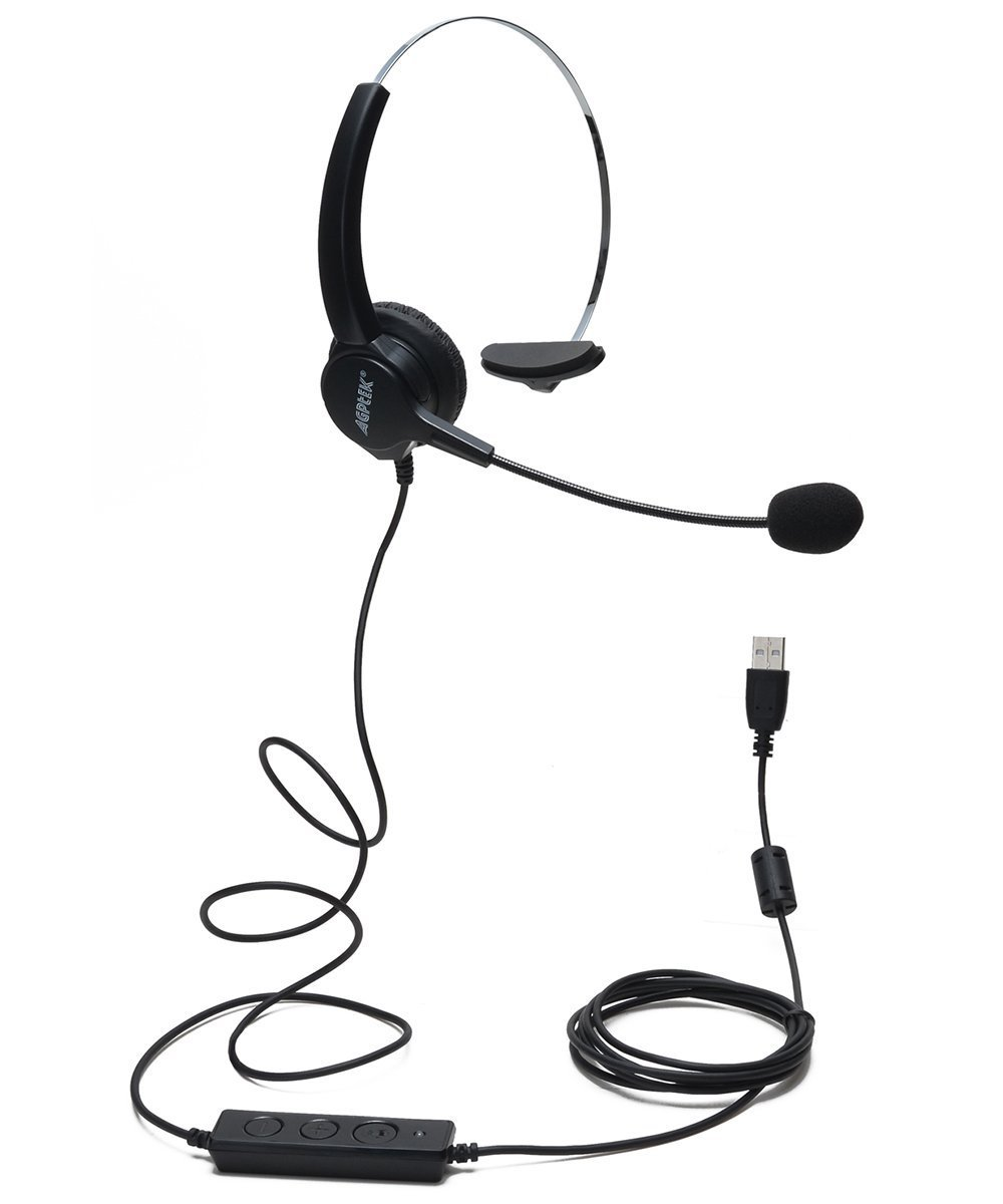 AGPtEK Hands-free Call Center Noise Cancelling Corded Monaural Headset Headphone with Mic Mircrophone - Cord with USB Plug, Volume Control