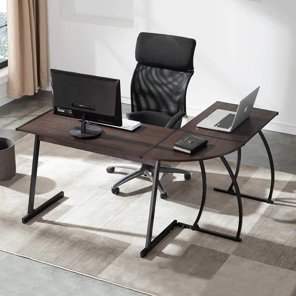 UnaFurni L Shaped Desk, L Corner Computer Desk for Workstation Home Office, Espresso