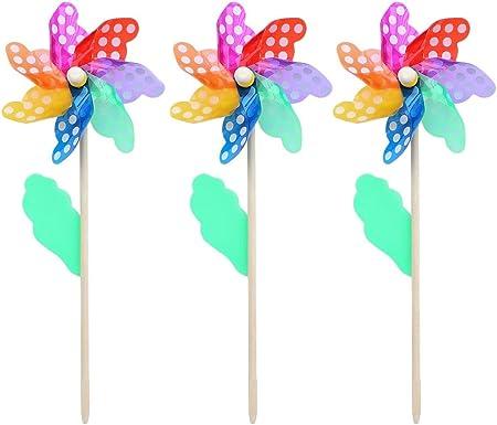 Juego de 3 molinillos de viento Namgiy con diseño de arcoíris para decoración de jardín 18 cm Colorido.: Amazon.es: Hogar