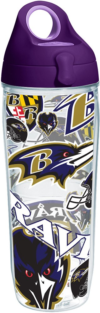 Tervis 1248083 NFL Baltimore Ravens All Over Tumbler with Wrap and Purple Lid 24oz Water Bottle, Clear