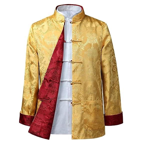 dc94f0b98e6d KINDOYO Costume Tang Chinois Manteaux Femmes Hommes - Les Deux Côtés Manteau  Veste Manches Longues Arts