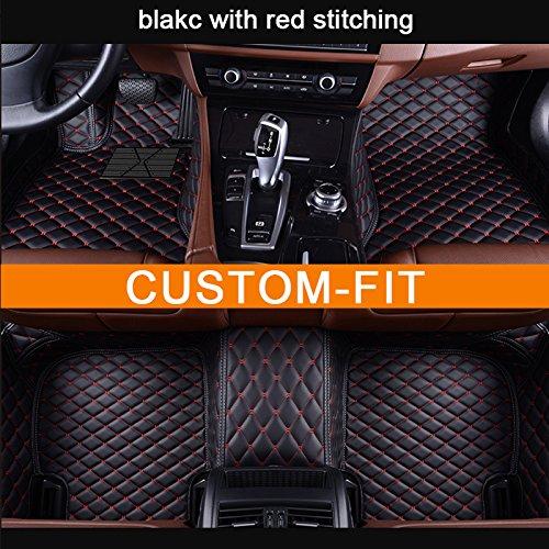 Veeleo Car Floor Mats for VW EOS 2007-2016 Custom Made Leather Waterproof 3D Carpets (black &red)