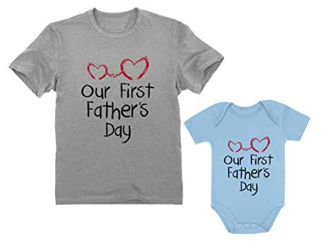 51ab7e31 Our First Father's Day Dad & Baby Matching Set Infant Bodysuit & Men's T- Shirt