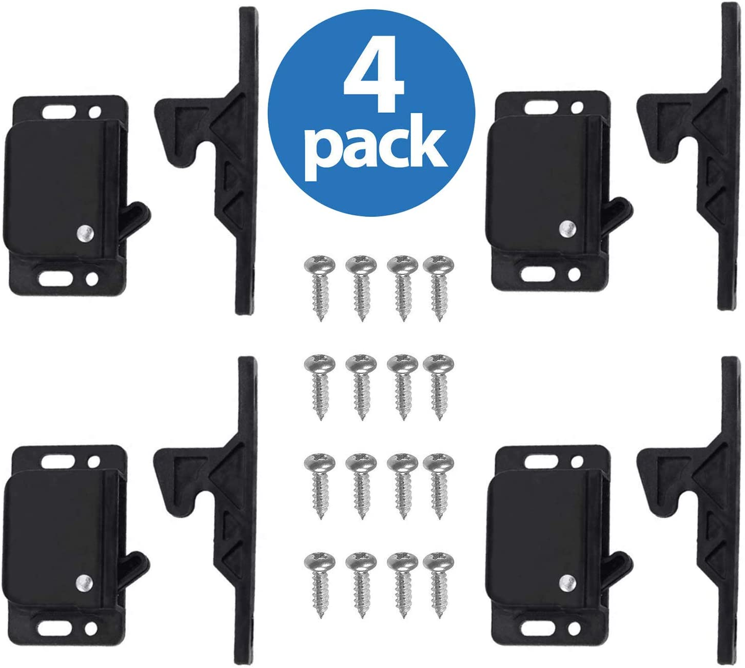 4 Grabber Catches 10 LB Pull Force Cabinet Doors Push to Close Latch RV Drawer Latches and Catches Hardware Baby Proof for Camper, Home, Kitchen, Bathroom, Office