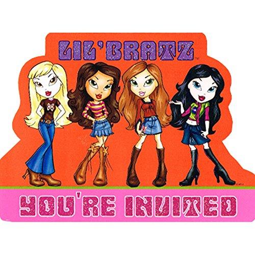 Lil' Bratz Glitter Invitations w/ Envelopes - Bratz Glitter