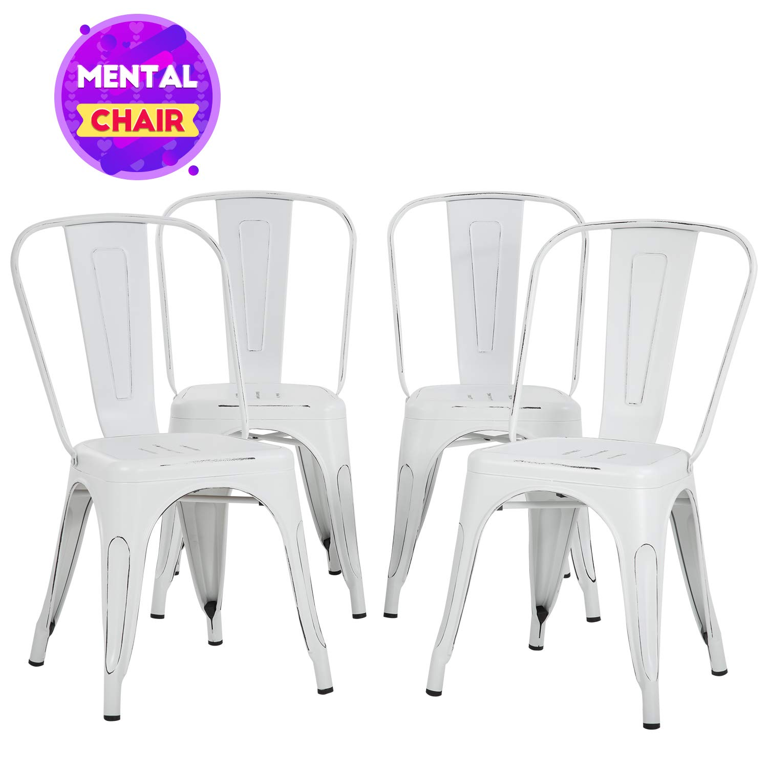 FDW Metal Dining Chairs Set of 4 Indoor Outdoor Chairs Patio Chairs Metal Chairs 18 Inch Seat Height Metal Restaurant Chair Kitchen Chairs 330LBS Weight Capacity Stackable Chair Tolix Side Bar Chairs