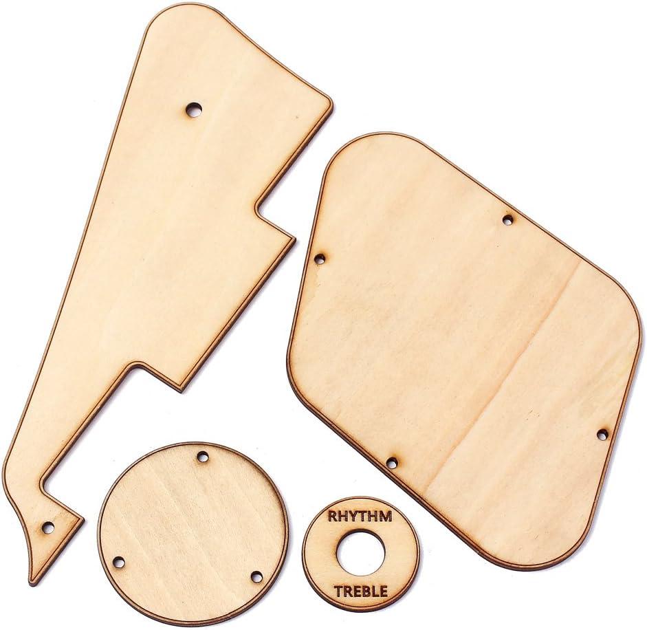 Rockyin Maple Wood LP Guitar Pickguard Cavity Switch Covers Pickup Selector Plate Bracket