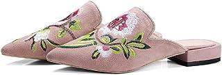 Onfly Signora di moda Punta punta Tacco basso Stile cinese Ricamato Pantofole Scarpe Muller