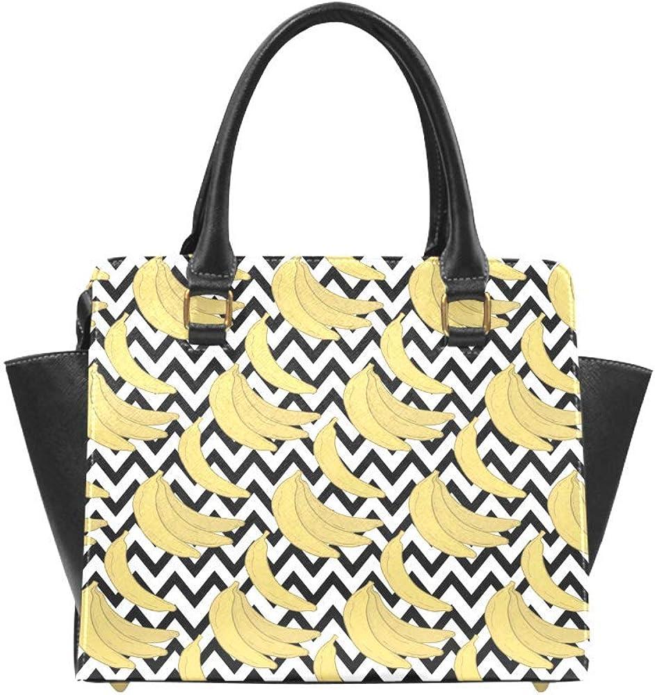 InterestPrint Cute Cartoon Fruits Women Rivet Leather Shoulder Handbags Top Handle Bags with Crossbody Strap
