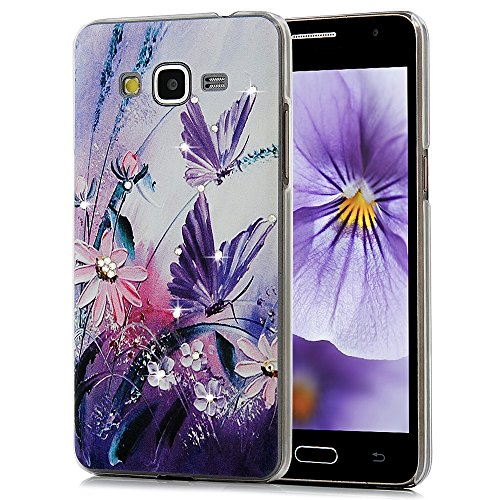 Galaxy Grand Prime Case- Maviss Diary 3D Handmade Bling Crystal Shiny Sparkle Diamonds Lovely Purple Butterfly Pink Flowers Pattern Clear Hard PC Cover for Samsung Galaxy Grand Prime G5308/G530H
