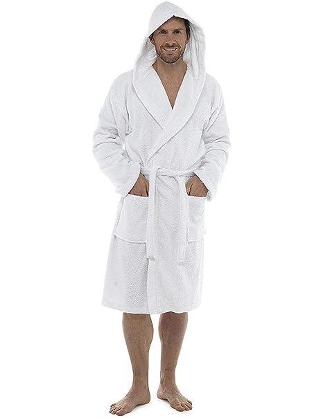 CityComfort Hombres Toalla de baño 100% Algodón Terry Toalla Cuello Chal Albornoz Bata de baño