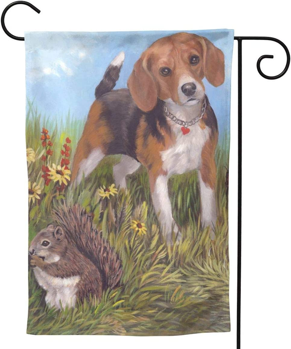 Beagle Dog Funny Cute Squirrel Drawing Small Garden Flag Vertical Double Sided 12.5 X 18 28 X 40 Inch Floral Farmhouse Yard Outdoor Deco