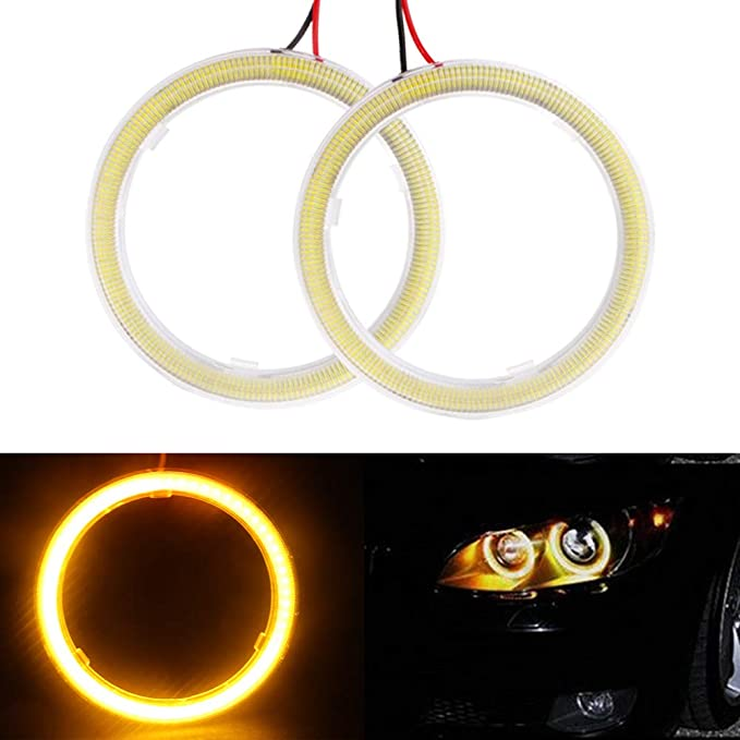 GrandviewTM Super Bright 2X 90mm 66SMD Led Chips Angel Eyes Halo Ring Lamp Light Bulb Headlight COB-Amber