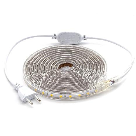 ALOTOA Striscia LED, 3M 60LEDs/M SMD 5050 bianco freddo 6000K, 230V ...