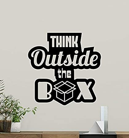 Vinyl Wall Decal Think Outside The Box Quote Quote Living Room Lettering  Inspirational Quote Motivational Quote