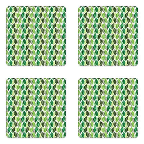 Lunarable Dark Green Coaster Set of Four, Botanical Nature Pattern with Geometric Leaves, Square Hardboard Gloss Coasters for Drinks, Green Lime Green Pistachio Green Army Green