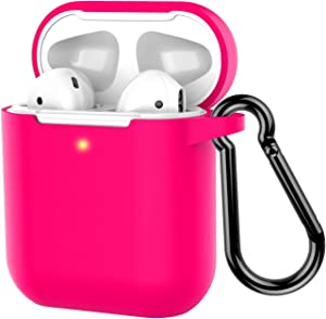 Coffea Protective Silicone Case with Keychain for Apple AirPods 2 (Rose)
