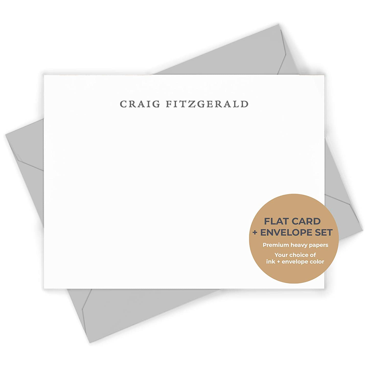 SIMPLICITY FLAT - Personalized Professional Womens Mens Office Stationery/Stationary Notecard And Envelope Set