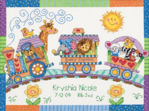 Brand New Baby Hugs Baby Express Birth Record Counted Cross Stitch Kit-12