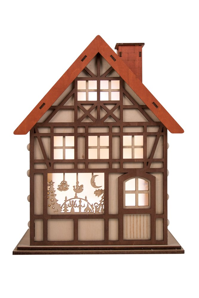 Clever Creations 24 Day Advent Calendar Christmas House Shaped Countdown | Natural Wood Numbers | 100% Wood Construction | Holiday Decoration | Measures 9.75' x 7' x 12.5' | Battery Powered
