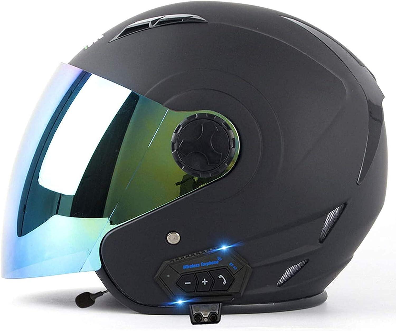 Medio Abierto Casco de Moto con Bluetooth Integrado con Doble Visera Casco Moto Jet Cubierto Casco de Seguridad ECE Homologado Casco de Motocicleta para Hombres y Mujeres E,L